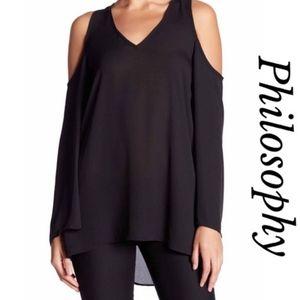 Philosophy V-neck Cold Shoulder Bell Sleeve Blouse